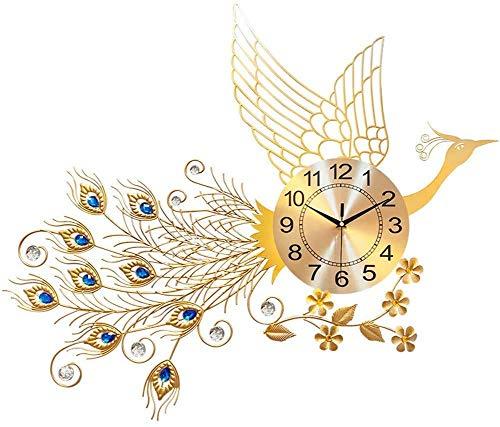 Reloj de Pared de Pavo Real Simple Creativo de Sala de Estar Europea, hogar silencioso, Reloj Decorativo para la Oficina de la Cocina del hogar