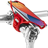 """Bone Bike Tie Pro 4 Bike Phone Holder for Stem Mounting 4.7"""" - 7.2"""" Screen Smartphones, Face ID Compatible, Ultra Light Weight Bicycle Phone Mount, Designed for Road, Race & Touring- Red"""