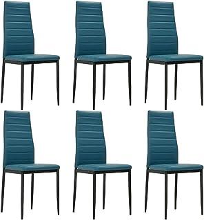 UnfadeMemory Sillas de Comedor Cocina o Salón,Estructura de Acero,Tapizadas en Cuero Sintético,41x51x98cm (6uds, Azul Mar)