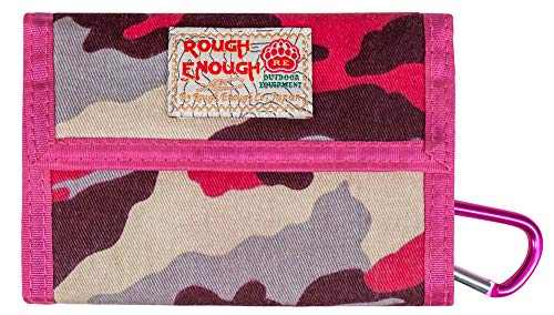 Rough Enough Large Canvas Women Wallet for Men Girls Boys Teen Card Wallet Case Coin Purse Pouch with Carabiner Zipper Pockets for Thanksgiving Christmas Gifts in Casual Classic Fancy Outdoor Urban