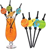 48 Outer Space Astronomy Cosmos Theme Party Paper Straws. (Disposable) 7.75'. Decorative. Black with stars and planets printed. Earth, Jupiter, Saturn, Mars