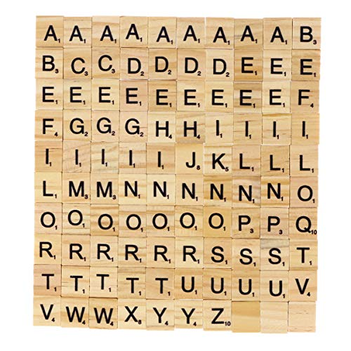 MILISTEN 100Pcs Azulejo de Letras de Madera Azulejos de Scrabble de Navidad Azulejos de Madera A-Z Letras Mayúsculas Alfabeto Chips de Madera para Manualidades Ortografía Hacer Posavasos