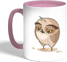 Printed Coffee Mug, Pink Color, Cartoon Drawings - Owl