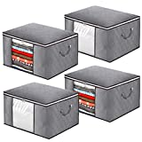 Large Capacity Clothes Storage Bag, Foldable Blanket Storage Organizers with Clear Window, Sturdy Zippers, Durable Handles for Comforters, Bedding, Clothing(4Pack, Grey)