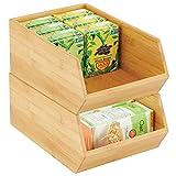 mDesign Gaveta apilable de madera – Caja organizadora grande para armarios de...
