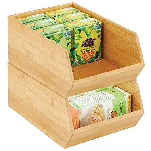 mDesign Gaveta apilable de madera – Caja organizadora grande para armarios de cocina, estanterías y superficies – Organizador de cocina abierto de bambú sostenible – Juego de 2 – color natural