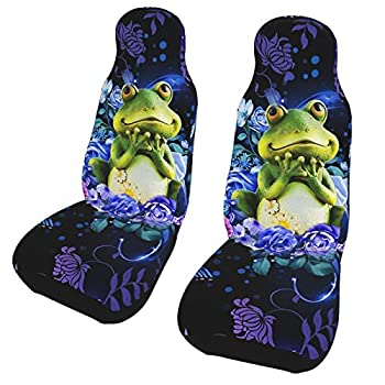 Inrubie Frogs Flower 2 Pcs Car Seat Covers Front Seats,Automotive Protetors Car Mat Universal Vehicle Cushion Cover for Most Car SUV Van Truck