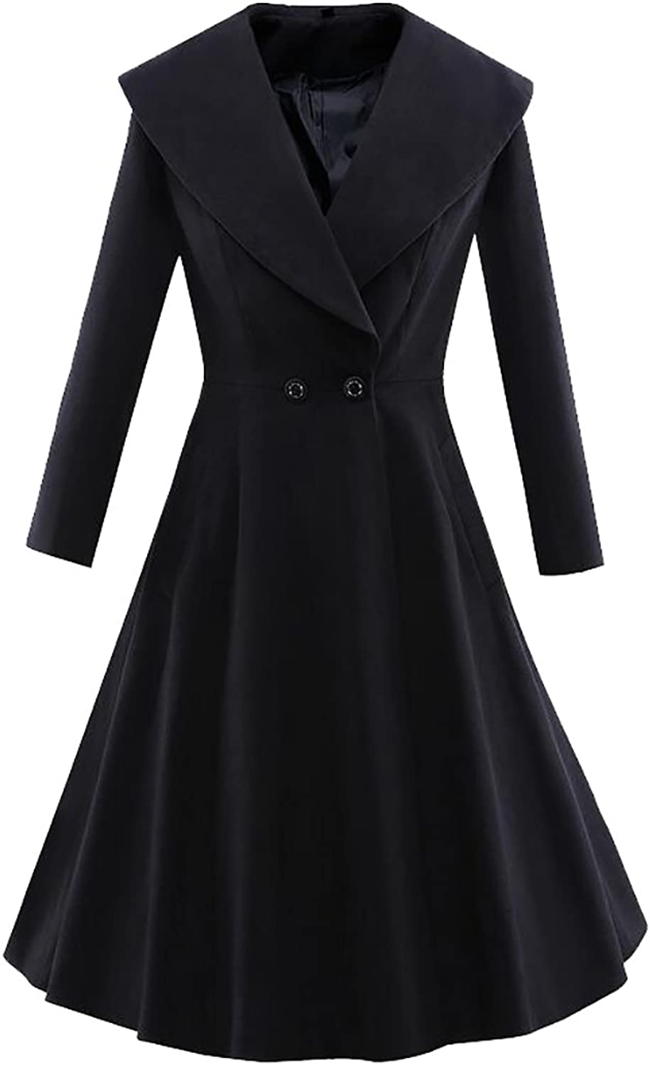 Esast Womens Winter Long Sleeve Aline Button Slim Fit Swing Wool Pea Trench Coat
