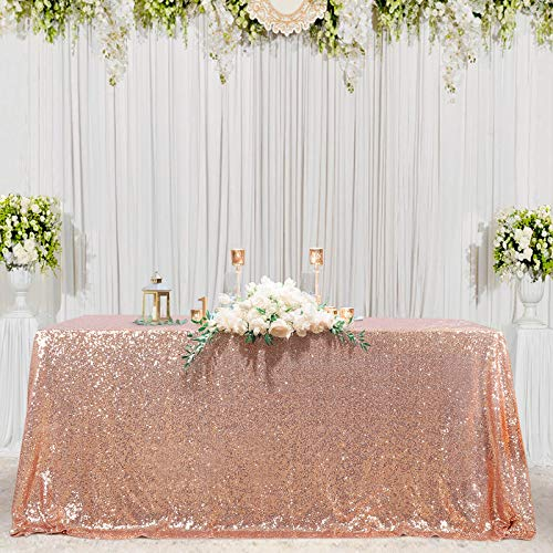 B-COOL 60X102inch Rectangle Rose Gold Sequin Tablecloth Seamless Sparkly Tablecloth for Halloween Thanksgiving Day Wedding Party Curtain Birthday Christmas New Year and Other Event Decor