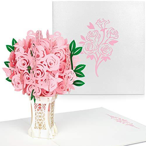 PaperCrush® Pop-Up Karte Rosa Rosen - 3D Glückwunschkarte für Sie, Blumen Geburtstagskarte mit Rosenstrauß, Romantische Liebeskarte für Frau, Freundin (Hochzeit, Geburtstag, Hochzeitstag)