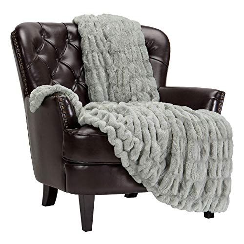 959 Custom Personalized Ruched Royal Faux Fur Throw Blanket - Fuzzy Plush Elegant Blanket for Sofa Chair Couch and Bed with Reversible Velvet Blanket (50x65 Inches) Tan Sage