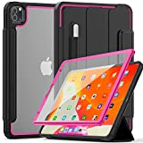Weuiean for iPad Pro 11 Inch 2020 Clear Case, Transparent Rugged Back Case with Soft Edge, Smart Wake/Sleep Trifold Stand Clasp Cover with Pencil Holder [Support iPad Pencil Charging] - Rose Black