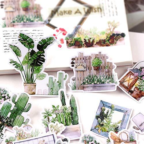 HENJIA Pegatinas de Plantas pequeñas, Manualidades y álbumes de Recortes, Juguetes para niños, Libro, Pegatina Decorativa, papelería DIY, 28 Piezas