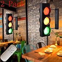 赤緑の壁ランプLED屋内標識ライト警告信号灯壁ライト鉄壁ライトリモートコントロールスイッチ付き