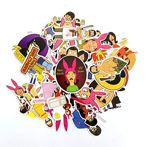 XIAMU Pegatinas de Hamburguesa de Bob para portátil, monopatín, decoración del hogar, calcomanías de Vinilo con Estilo, Pegatina para álbum de Recortes DIY, 34 Uds.