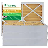 FilterBuy 20x25x4 MERV 11 Pleated AC Furnace Air Filter, (Pack of 4 Filters), Actual size 19 3/8' x 24 3/8' x 3 5/8', 20x25x4 – Gold