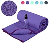 Heathyoga Non Slip Yoga Towel (183cmx66cm) Exclusive Corner Pockets Design, Microfiber and Silicone Coating...