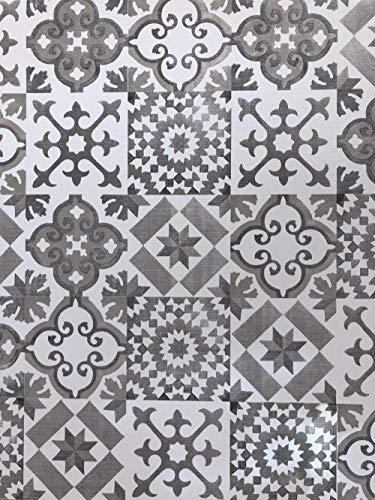 De'Carpet Vinilo PVC A Medida Alfombra FÁCIL Limpieza Antideslizante BALDOSA HIDRÁULICA Gris (65cm Ancho) (1 Metro)