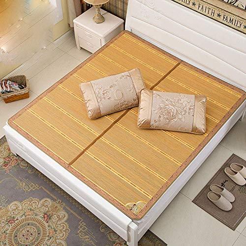 FGDSA Colchoneta de Seda de Hielo de Doble Cara, colchoneta de bambú carbonizada para Dormir de Verano Colchoneta de Paja Plegable para Cama Individual de refrigeración, 90190CM