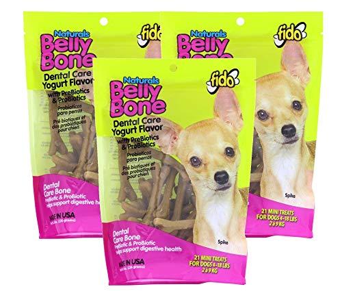 (3 Pack) Fido Belly Dog Bone, Digestion Aid w/ Prebiotic and Probiotic Enzymes, Mini, 21 Bones each