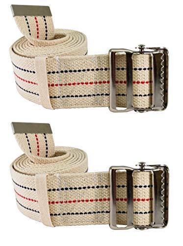 Secure Transfer & Walking Gait Belt with Metal Buckle and Belt Loop Holder for Caregiver, Nurse, PT, Therapist (2 Pack)