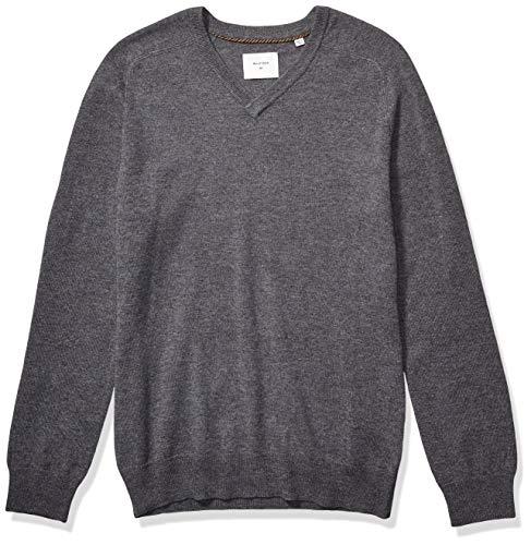 Billy Reid Men's Extrafine Merino Wool Cashmere Pullover V-Neck Sweater, Grey, XL