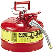 """Justrite 7225120 AccuFlow 2.5 Gallon, 11.75"""" OD x 12"""" H Galvanized Steel Type II Red Safety Can With 5/8"""" Flexible Spout"""