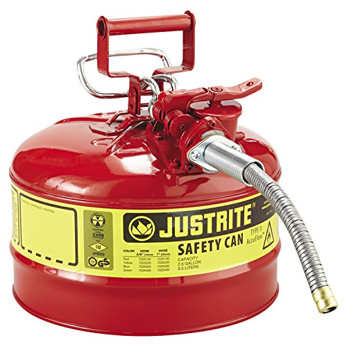 Justrite 7225120 AccuFlow 2.5 Gallon, 11.75' OD x 12' H Galvanized Steel Type II Red Safety Can With 5/8' Flexible Spout