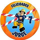 OBLEA de Sam EL Bombero Personalizada con Nombre y Edad para Pastel o Tarta, Especial para cumpleaños, Medida Redonda de 20cm de diámetro