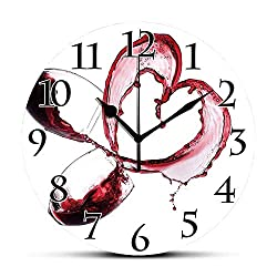 Silent Wall Clock,Wine,Heart Shape with Spilling Red Wine in Glasses Romantic Valentines Day Concept Decorative,Burgundy White Pink Non Ticking Wall Clock/Desk Clock for Office Home Decor 9.5 inch