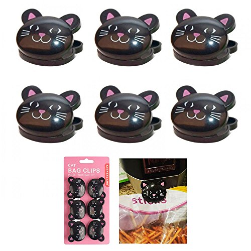 6 Pc Sealing Chip Clips Storage Bag Fresh Food Snack Clip Grip Coffee Crafts Cat