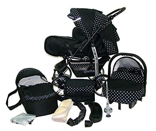 Kinderwagen Schwarz mit Punkten 3in1 mit Autositz Babyschale oder 2in1, Kombikinderwagen, Buggy, Sportwagen (2in1 ohne Babyschale)