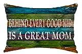 Colores de madera detrás de cada buen Kid es una gran mamá feliz día de la madre regalo manta de lino y algodón cuadrado Funda de almohada decorativa cojín almohada sofá 12X 20 pulgadas