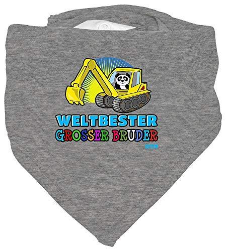 Hariz Baby Halstuch Weltbeste Grosser Hermano excavadora Panda Weltbeste Grosser Hermano mayor Incluye Tarjeta de regalo Lápiz Gris