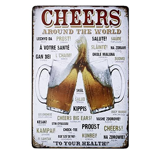 Placa de metal para la pared, diseño de cervezas y letras decorativas en varios idiomas, para el hogar, oficina, bar o cafetería