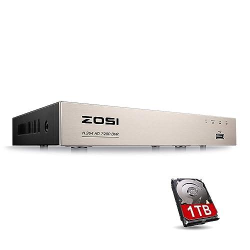 ZOSI 8CH 720P HDMI TVI DVR Enregistreur Vidéo Numérique 1To Disque Dur - Code QR pour Smartphone - Détection de Mouvement et Alerte par Email -CCTV Système de Surveillance