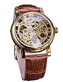Winner 3D Transparent Brown Leather Belt Mens Skeleton Mechanical Wrist Watch Golden Gear Movement