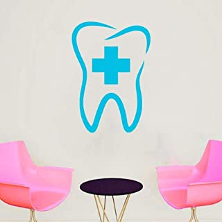 WSLIUXU Clínica dental Etiqueta de la pared dental Vinilo removible Dentista Clínica Logotipo Impermeable Decorativo Tatuajes de pared Hogar y jardín Pegatinas de pared Hortensia Púrpura 29 55x42cm