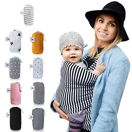 Fastique Kids® Tragetuch - elastisches Babytragetuch für Früh- und Neugeborene inkl. Baby Wrap Carrier Anleitung - Farbe s/w