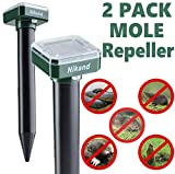 NIKAND Solar Mole Repellent Ultrasonic 2 Pack Outdoor Powered Sonic Deterrent - Mole Stopper Scare Vole for Lawn Garden & Yard Home - Groundhog Repeller Snake Rodent Gopher Spikes Chaser Pest Control