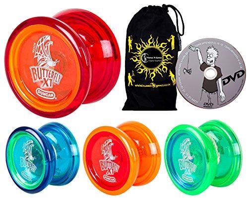 Duncan Butterfly XT YoYo Set - Ideal für Anfänger + Lernen DVD + Reise Tasche! C-Lagerachse Zwischen Yo-Yo. (Blau)