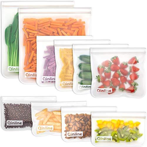 Reusable Storage Bags - 10 Pack Reusable Freezer Bags(2 Reusable Gallon Bags + 4 BPA FREE Reusable Sandwich Bags + 4 Leakproof Reusable Snack Bags) Lunch Bags for Food Marinate Meat Fruit