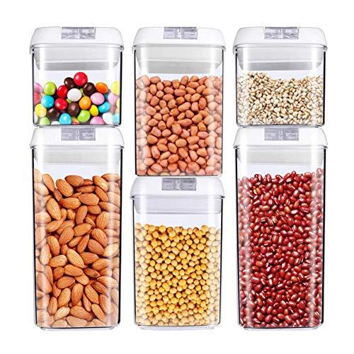 DPPD Contenitori per Alimenti, Contenitori impilabili per Cucina, Contenitori ermetici per Alimenti, Contenitori per dispensa con coperchi, Ideali per Cereali, Spaghetti, Fiocchi, Cereali, Noci (