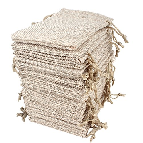 Hapdoo 30 Pack Burlap Bags with Drawstring Gift Bags Jewelry Pouches Sacks for Wedding Party and DIY Craft, 5 x 3.5 Inches, Presents, Christmas