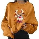 Camiseta de manga larga para mujer de Navidad, suéter suelto, diseño de alce, camiseta de otoño, elegante, cuello redondo, blusa básica, túnica informal, manga larga., amarillo, L