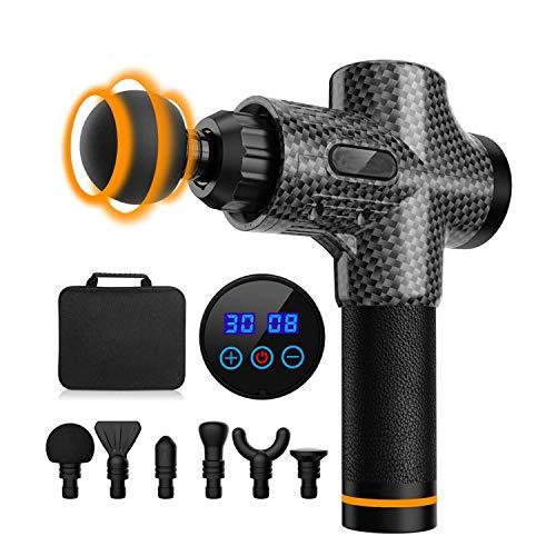 Pistola per massaggio muscolare elettrica, con 30 velocità, 6 testine di massaggio, schermo LCD tattile, pistola per massaggio, colore: nero