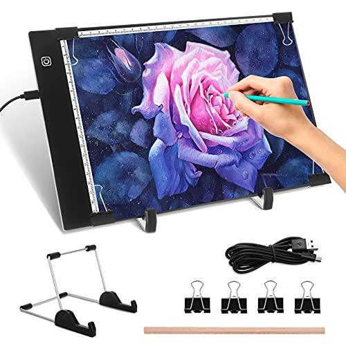 Mesa de Luz Dibujo, LED Tableta de Luz A4 Ultra Delgada Caja de Alimentación USB Brillo Ajustable Luces Calcar Dibujos con Función de Memoria Ideal para Dibujar Artesanía Animacion Bocetos