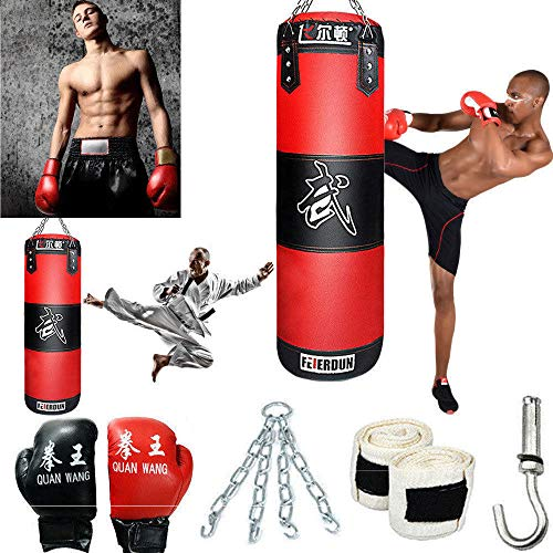888Warehouse Full Heavy Boxing Punching Bag (Empty), Training Gloves Speed Set Kicking MMA Workout, Taekwondo Training Fitness Heavy Boxing Workout, Muay Thai Kick Bag, Home Gym