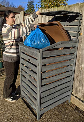 BinGarden Single Wooden Slatted Wheelie Bin Store with Bi-Fold Roof. Garbage Cover Trash Storage Shed Tidy Outdoor Hideaway for up to 240L Bins / 65G Cans. Hide Dustbin Bin Garden, Painted Dark Grey