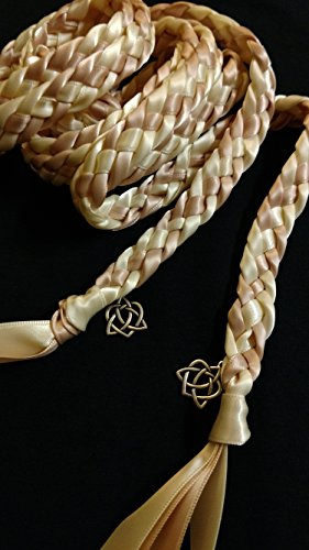 Blush/Light Pink and Ivory Handfasting Cord Ceremony Braid- Celtic Heart- 6 ft -Wedding- Handfasting Cord- Braided Together